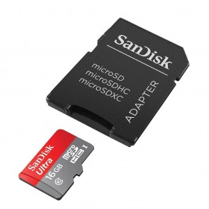 SanDisk Ultra microSDHC 16GB 80MB/s + Adapter (SDSQUNC-016G-GN6MA)