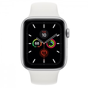 Apple Watch Series 5 44mm GPS Silver Aluminum Case with Sport Band White MWVD2