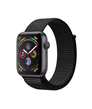 Apple Watch Series 4 44mm Space Gray Aluminum Case with Black Sport Loop MU6E2