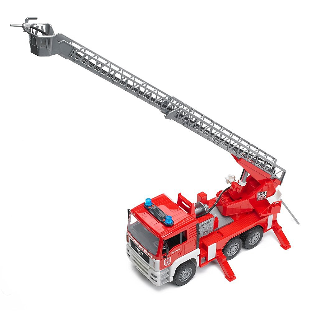 Light and Sound Water Pump Bruder 02771 MAN Fire Engine with Slewing Ladder